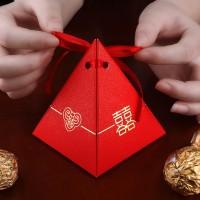 恒域婚庆创意糖果包装纸盒婚礼礼盒中式三角喜糖盒子